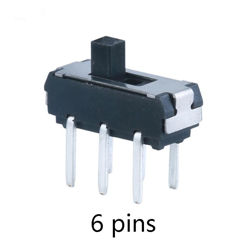10pcs 6 Pin Mini Slide Switch  Micro Toggle Switch Miniature Limit Switch 2Position 6pins  black
