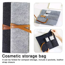 Portable Felt Makeup Bag Makeup Brush Case Travel Pouch Beauty Case Makeup Organizer Roll Pen Bag Pencil Case цена