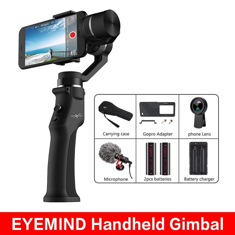 BEYONDSKY EYEMIND Handheld Gimbal 3-Axis Stabilizer Mobile IPhone Andriod Action Camera Yi Gopro Sjcam EKEN VS ZHIYUN Smooth 4