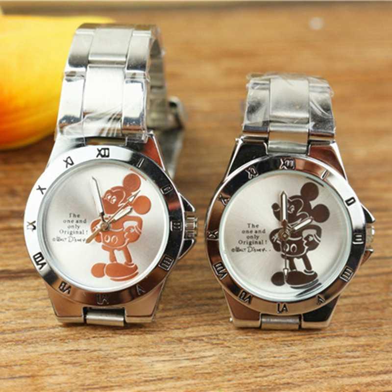 דיסני מיקי עכבר מיני ילדי תלמיד קריקטורה שעון Aolly פלדה קוורץ שעונים שעון עבור בני בנות מתנה