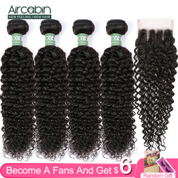 Aircabin Hair Kinky Curly Wave Bundles With Closure Brazilian Remy Human Hair Extensions 3/4 Bundles Weave And 4x4 Lace Closure aircabin hair body wave bundles with closure remy human hair extensions brazilian body weave bundles and lace closure