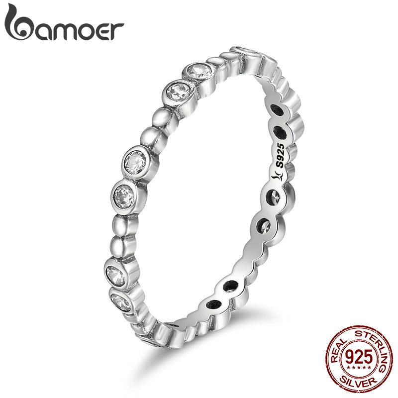 BAMOER Classical Genuine 925 Sterling Silver Round Geometric Sparking CZ Finger Rings For Women Sterling Silver Jewelry SCR102
