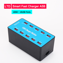 купить Universal 100W USB Quick Charger 5V 20A for iPhone Fast charging 10 USB Ports for Samsung For Oneplus For Huawei Smartphone дешево