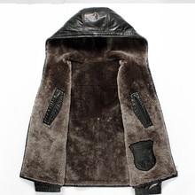 Men's Genuine Leather Jacket Real Wool Fur Liner Winter Jacket