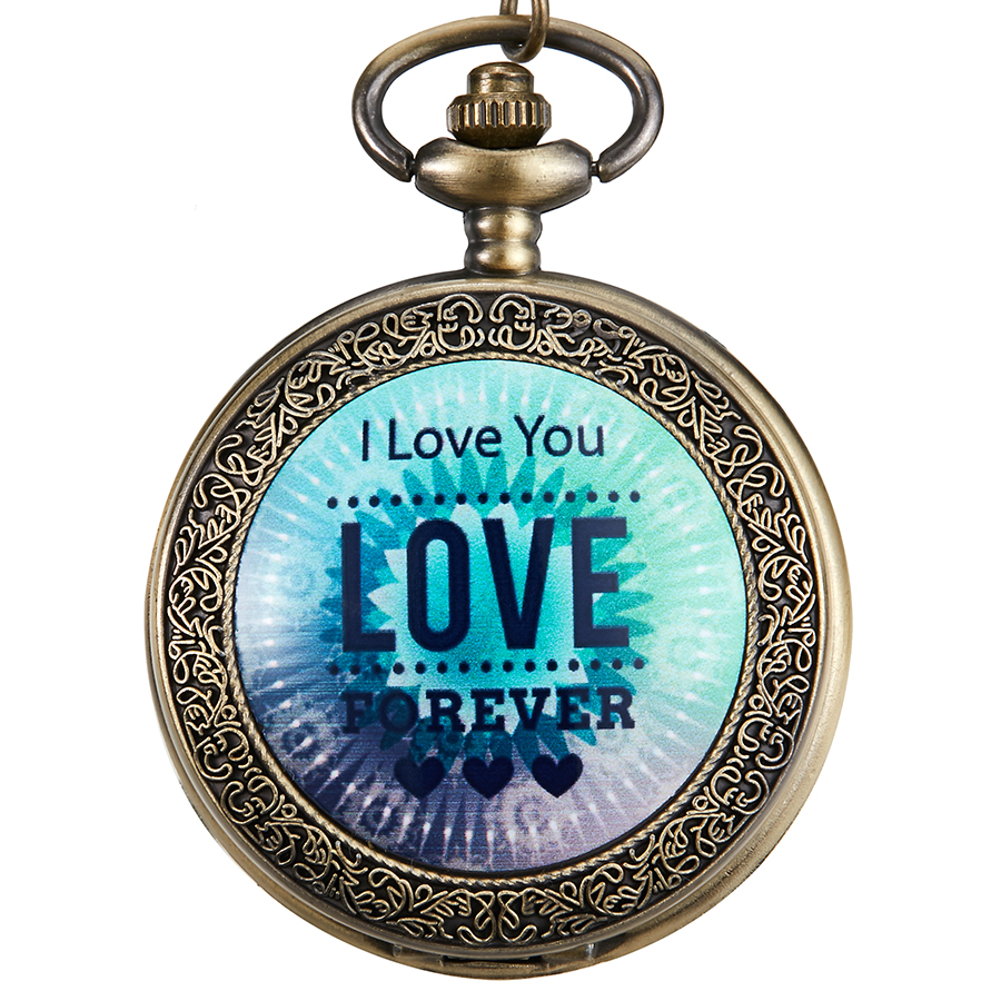 Vintage Quartz Pocket Watch I Love You Forever Watch Engraved Clock Sweet Gift Present For Men Women Necklace Chain Pendant