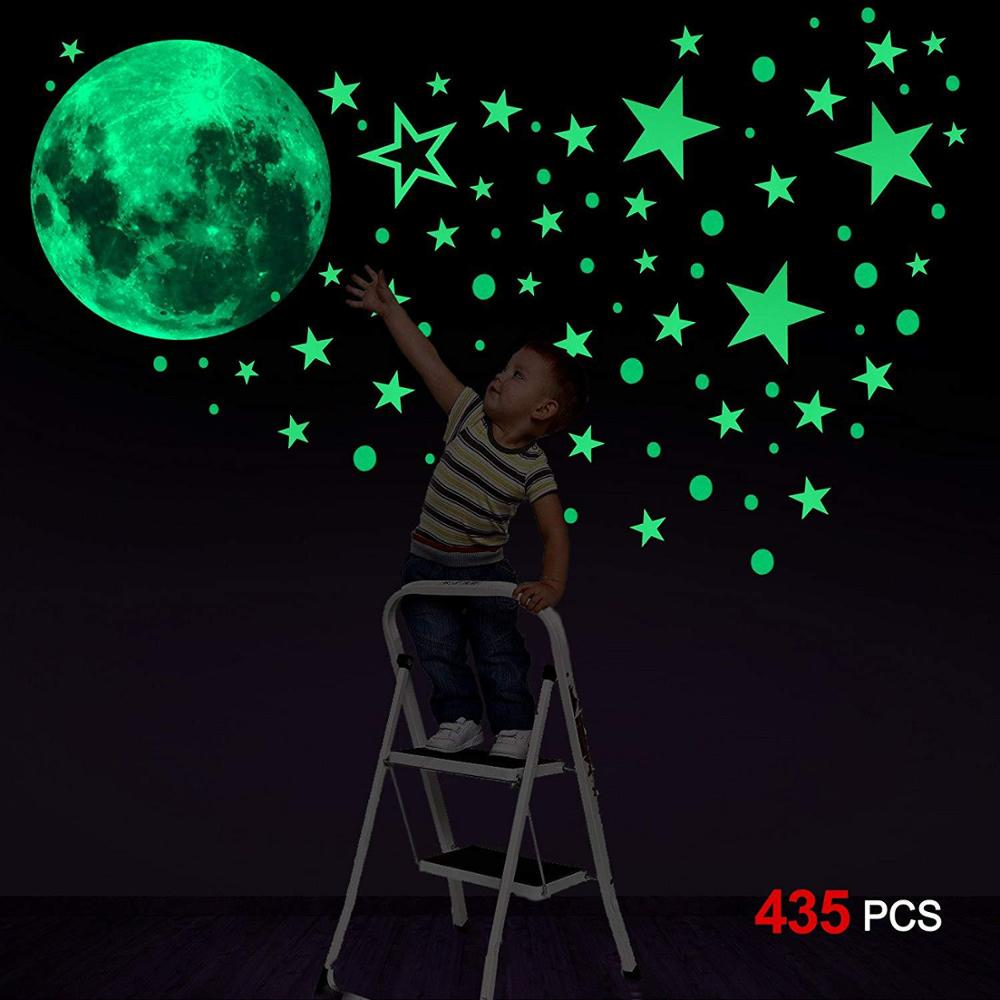 Luminous Moon Dots Stars Cartoon DIY Wall Stickers For Kids Room Bedroom Glow In The Dark Wall Sticker
