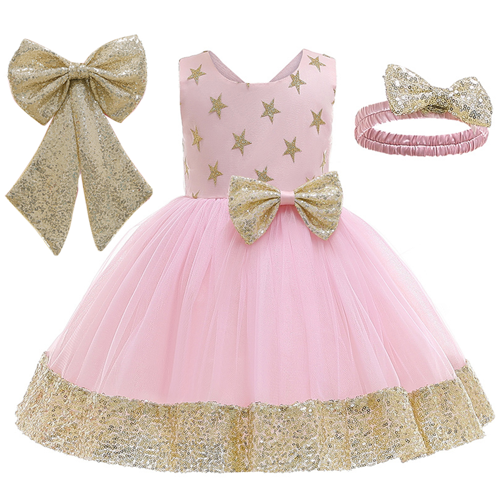Baby Girl Formal Dress Infant Christening Dress Toddler Party Dress 0-24M