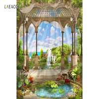 Laeacco Mare Palazzo Pavilion Giardino di Paesaggio Fotografia Sfondi Per Studio Fotografico Vinile Personalizzato Fondali Foto Puntelli
