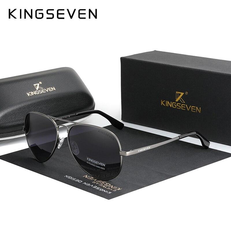 Мужские солнцезащ. Очки в алюминиевой оправе KINGSEVEN, черно-серые солнцезащитные очки в алюминиевой оправе с поляризованными зеркальными лин...