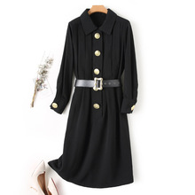 2020 New Black Long Outwear Turn-down Collar Long Sleeves Golden Button Design Celebrity Party Casual Female Long Coat cheap Full WOMEN Broadcloth Office Lady Polyester Trench Adjustable Waist Solid Ages 18-35 Years Old wc1267 Single Breasted Slim