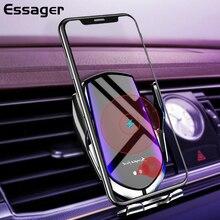 Essager צ י רכב אלחוטי מטען עבור iPhone Samsung Xiaomi אינטליגנטי אינפרא אדום מהיר Wirless טעינה הר לרכב