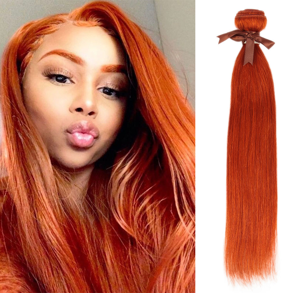 Remy Forte Straight Hair Bundles Blonde Brazilian Hair Weave Bundles 100% Human Hair Bundles 1/3/4 Bundles Orange Hair Bundles