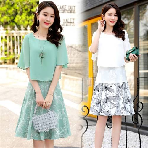 Fashion New 2020 Korean Two Piece Set Casual Brief A-line 2 Pcs Set High Waist Plus Size Chffion Women Sets Clothes