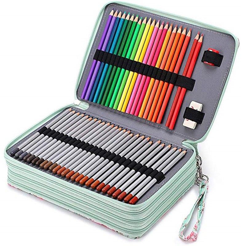 Menthe verte SHNORM Trousse /à Crayons Grande Capacit/é Poign/ée Portable portable Maquillage Organisateur de Rangement Mat/ériau /étanche Convient aux /él/èves du coll/ège et du lyc/ée