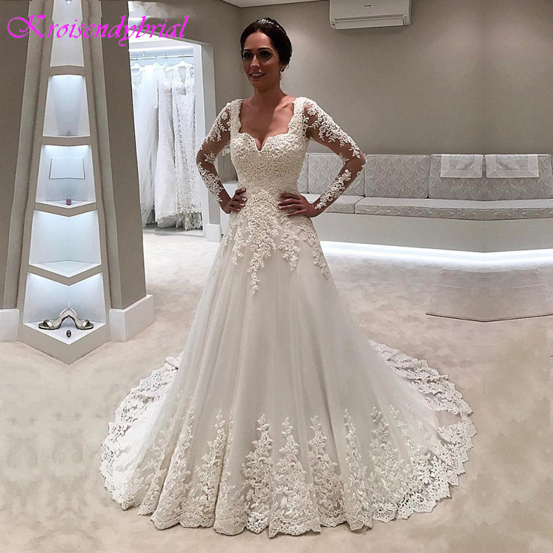 QFS021 Vestidos De Noiva Beautiful Wedding Dresses A Line Long Sleeves Cheap Sale Luxury Gown Dress