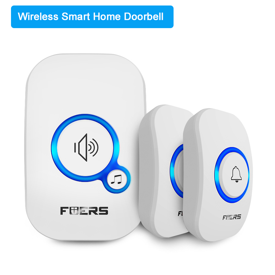 FUERS M557 Wireless Doorbell Home Security Alarm/ Welcome Smart Doorbell 3in1 Multi-purpose Door Button 433MHz Easy Installtion