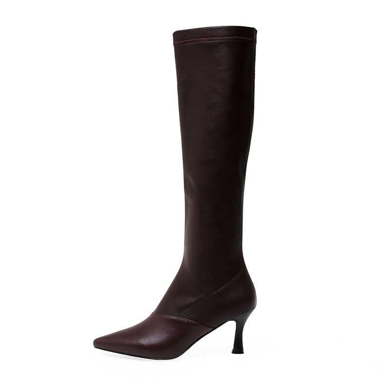 ISNOM streç diz yüksek çizmeler kadınlar yüksek topuklu çizme sivri burun moda ayakkabılar kadın parti inek deri ayakkabı bayanlar kış 2020
