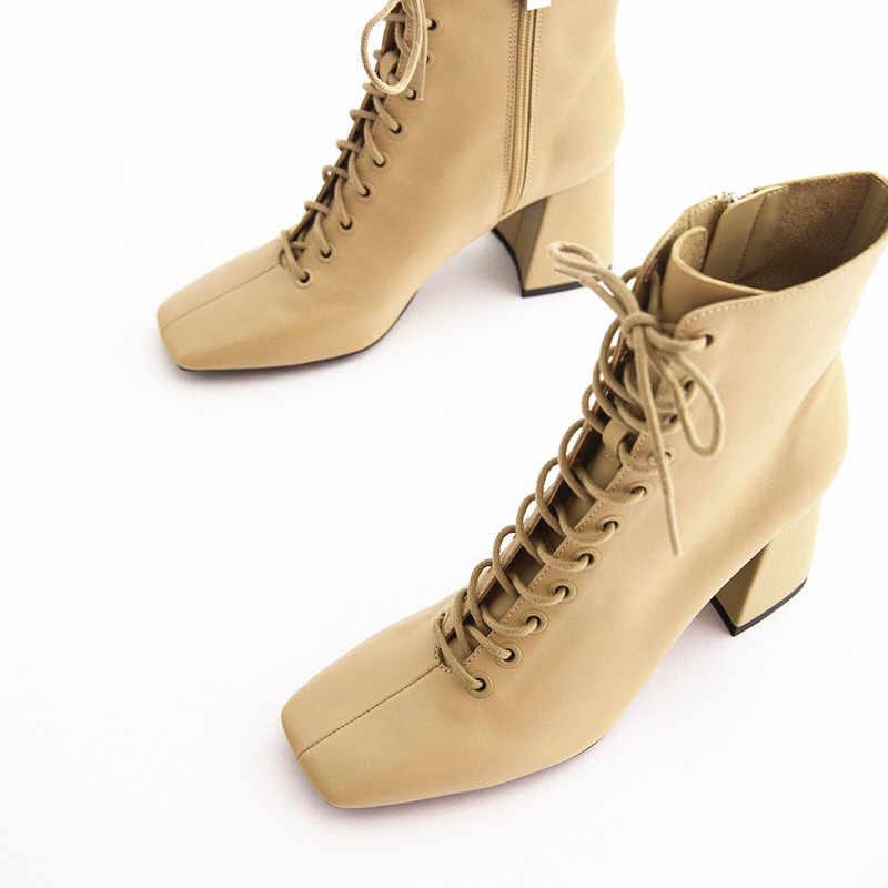 Giày Bốt Da Nữ Boot Nữ Cộc nữ Giày nữ Phối Ren Cao cấp 2020 Đá Mắt Cá Chân Móng Guốc Gót Vải sợi nhỏ Vuông