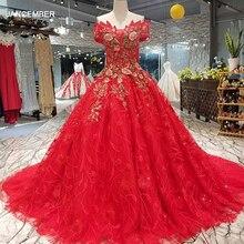 LS00411 1 สีแดง brides ชุดแต่งงานปิดไหล่ sweetheart beauty ชุดราตรี quick การจัดส่งโรงงานขายส่ง