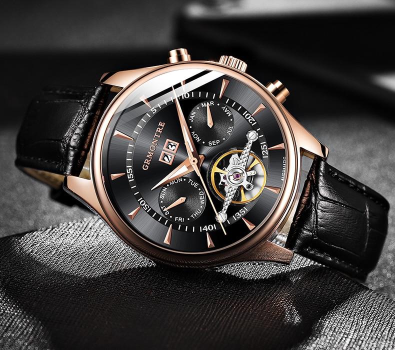 Hc26672c0859941339e839c80a8146749h Skeleton Tourbillon Mechanical Watch Men Automatic Classic Rose Gold Leather Mechanical Wrist Watches Reloj Hombre 2018 Luxury