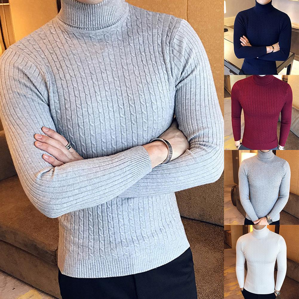 Casual Men Winter Solid Color Turtle Neck Long Sleeve Twist Knitted Slim Sweater
