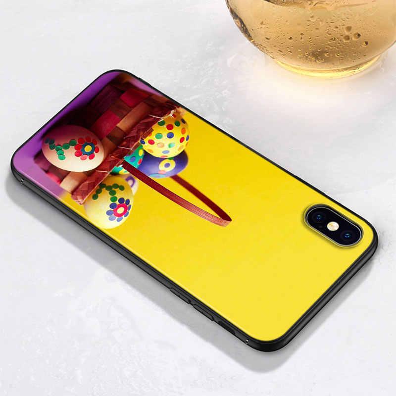 Capa preta para iphone 11 pro max casca macia ovos de páscoa para iphone xs max xr x 8 7 6 s 6 plus 5S 5 caso do telefone