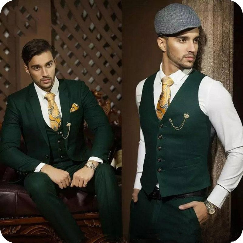 Green Groom Tuxedos Men Attire For Wedding Suits Masculino Evening Party 3PCS Peaked Lapel Outfit Blazer Costume Homme