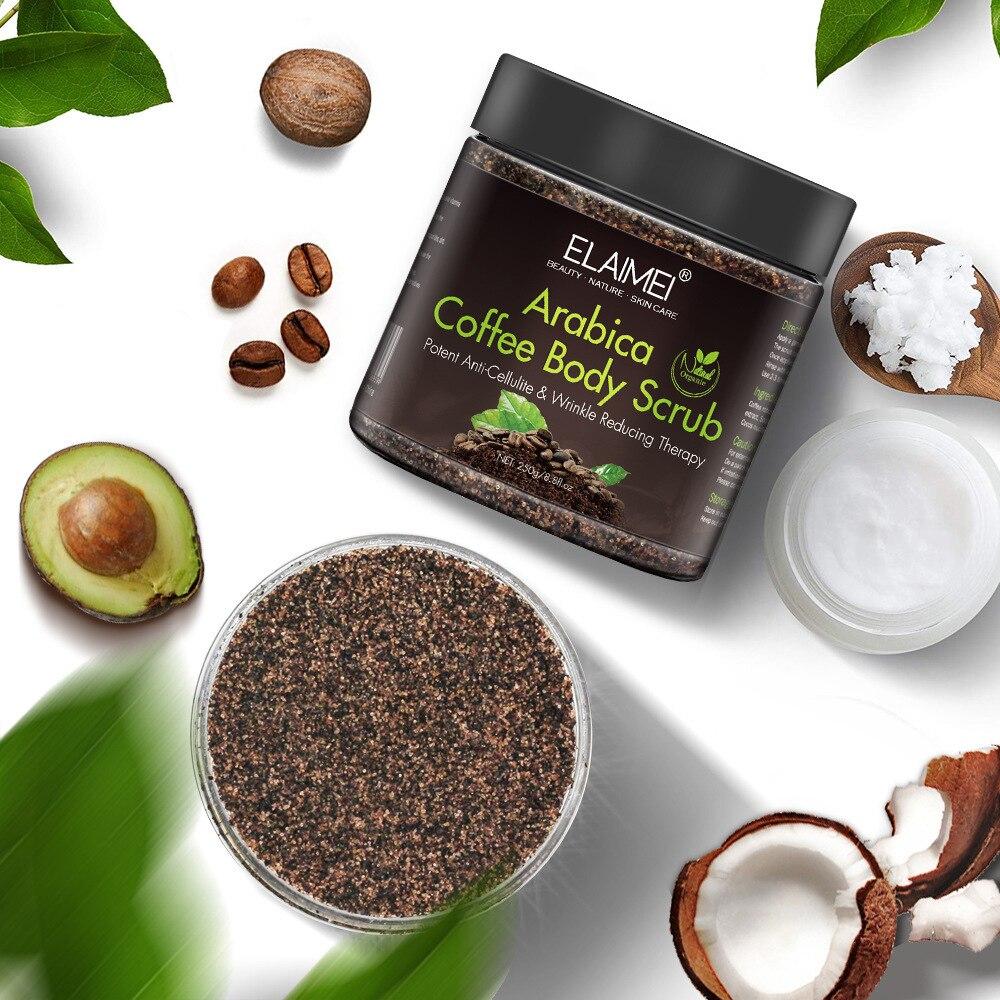 250g Arabica Coffee Body Scrub Cream Facial Dead Sea Salt For Exfoliating Whitening Moisturizing Anti Cellulite Treatment Acne