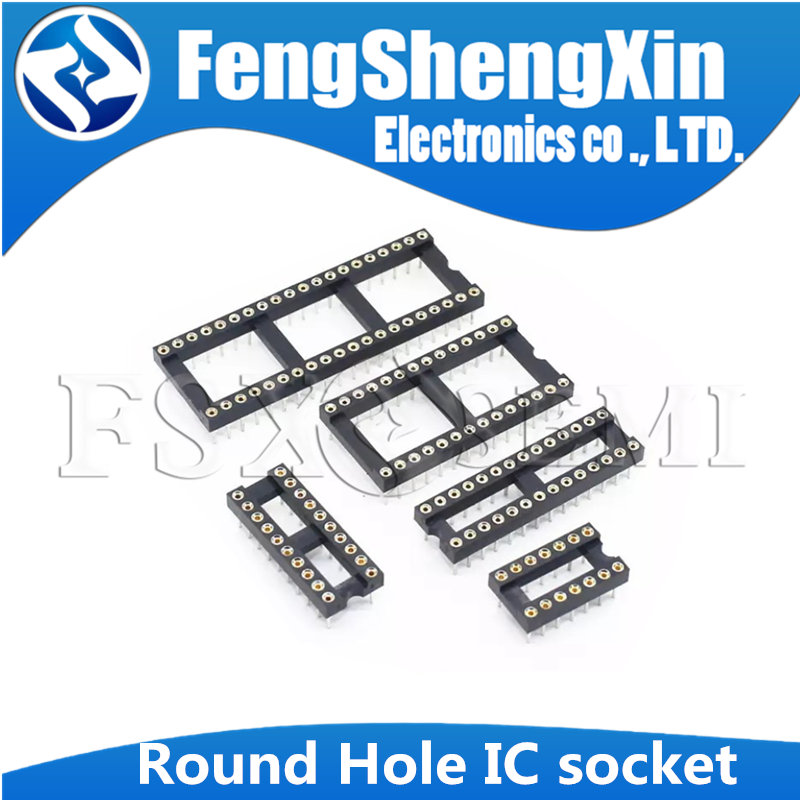 10pcs Round Hole IC <font><b>socket</b></font> Connector <font><b>DIP</b></font> 6 8 14 16 18 20 24 <font><b>28</b></font> 40 pin <font><b>Sockets</b></font> DIP6 DIP8 DIP14 DIP16 DIP18 DIP20 DIP28 DIP40 pins image