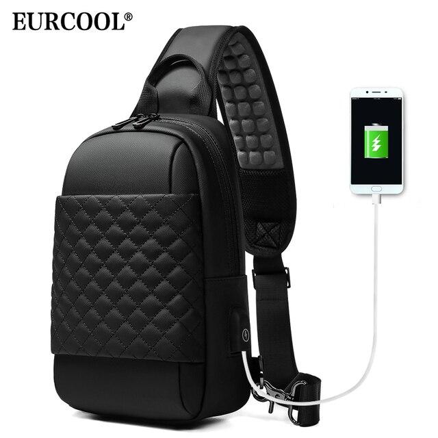 """EURCOOL שליח תיק לגברים שחור Crossbody שקיות גברים עבור 7.9 """"iPad עמיד למים כתף תיק USB טעינת חבילת חזה n1903"""