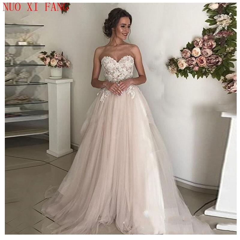 NUOXIFANG Elegant Lace Appliques A-line Wedding Dress Tulle Long Princess Bridal Dress 2020 Wedding Gown Boho Vestidos De Noiva