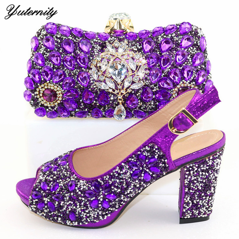 Purple Color Elegant African Woman Shoes And Bag Set Newest Autumn High Heels Evening Shoes And Bag Set For Party Dress 9Colors