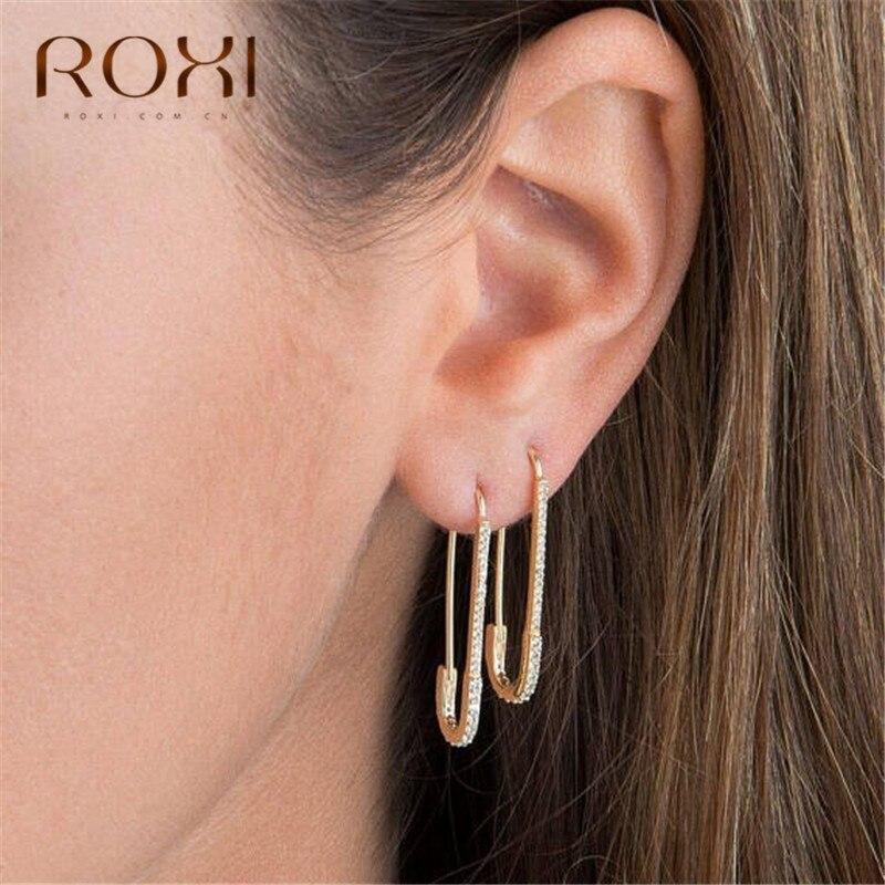 ROXI European Punk Hip Hop Safety Pin Stud Earrings Ear Threader Fashion Jewelry Women Exquisite Zircon Earring Korean Oorbellen