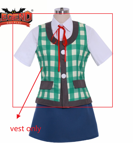 Animal Crossing Isabelle Cosplay Costume Custom Made Isabelle Summer Suit Green Plaid Vest Only Animal Isabelle Vest Only