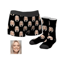 Custom husband's Face Boxer Shorts And Socks Set, personalize boyfriend
