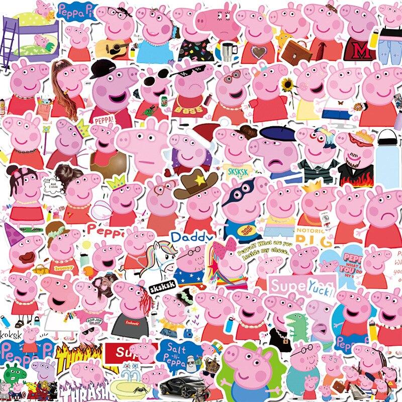 50pcs/A Paper Peppa Pig Sticker Paper Cute Cartoon Phone Glass Notebook Luggage Waterproof Decorative Graffiti Adhesive Paper