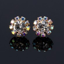 1 Pair 10-Stones Round Cubic Zirconia Flower Shape Stud Earrings Fashion Jewelry 634D(China)