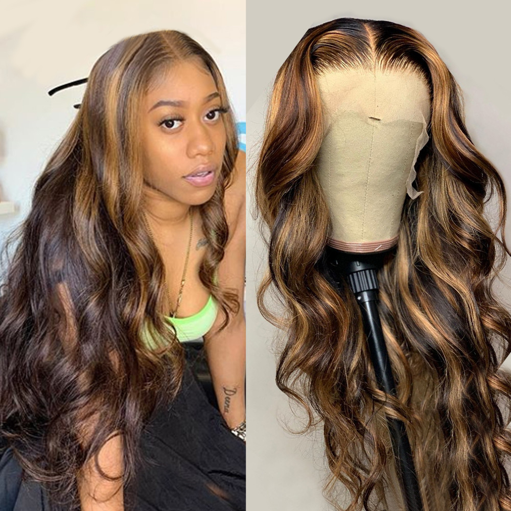 Мстоксический Омбре волнистый кружевной передний парик T часть парик из кружева человеческие волосы для черных женщин бразильские кружевн...