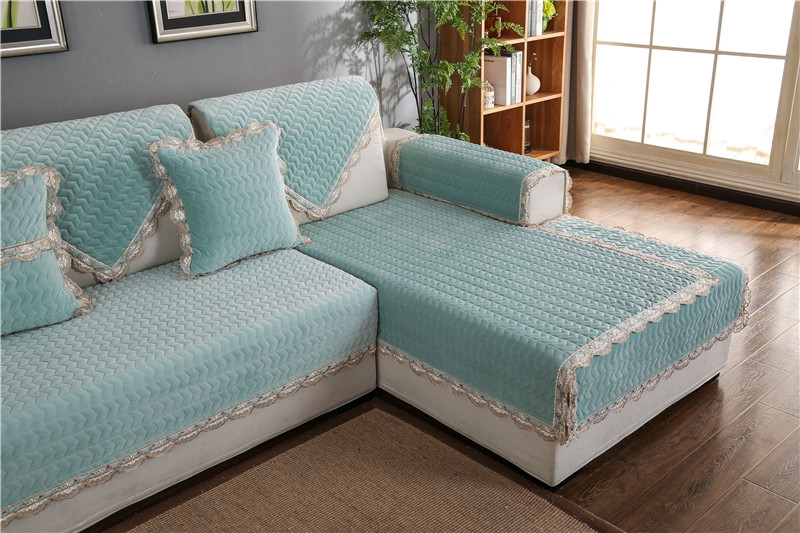 Thick Slip Resistant Couch Cover for Corner Sofa Made with Plush Fabric Including Lace for Living Room Decor 48