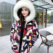 Free shipping.winter thick warm women genuine mink fur coat,patchwork real fur jacket.fashion lady Fox fur collar long overcoat(China)