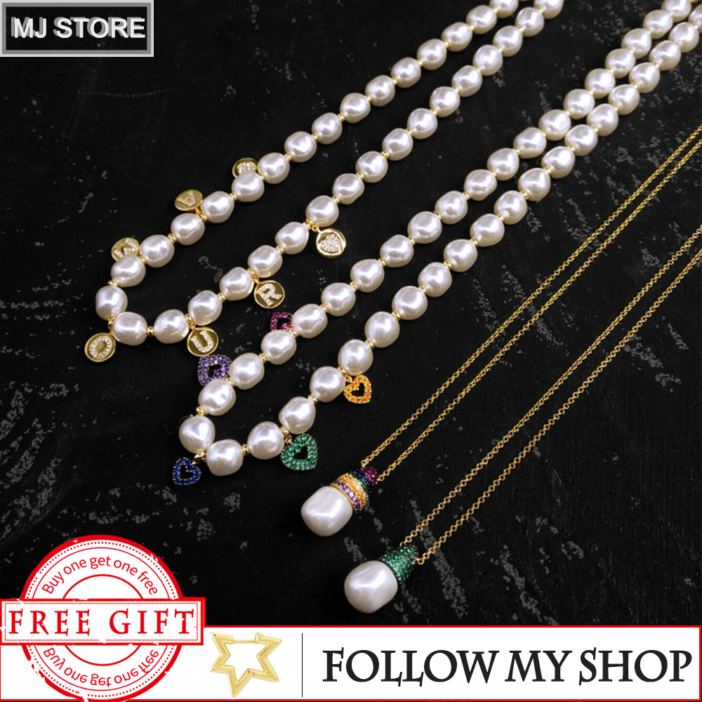 New S925 Silver Colorful Love Letter Necklace Female Pearl Pendant Clavicle Chain Design Sense For Girlfriend Gift Sweater Chain