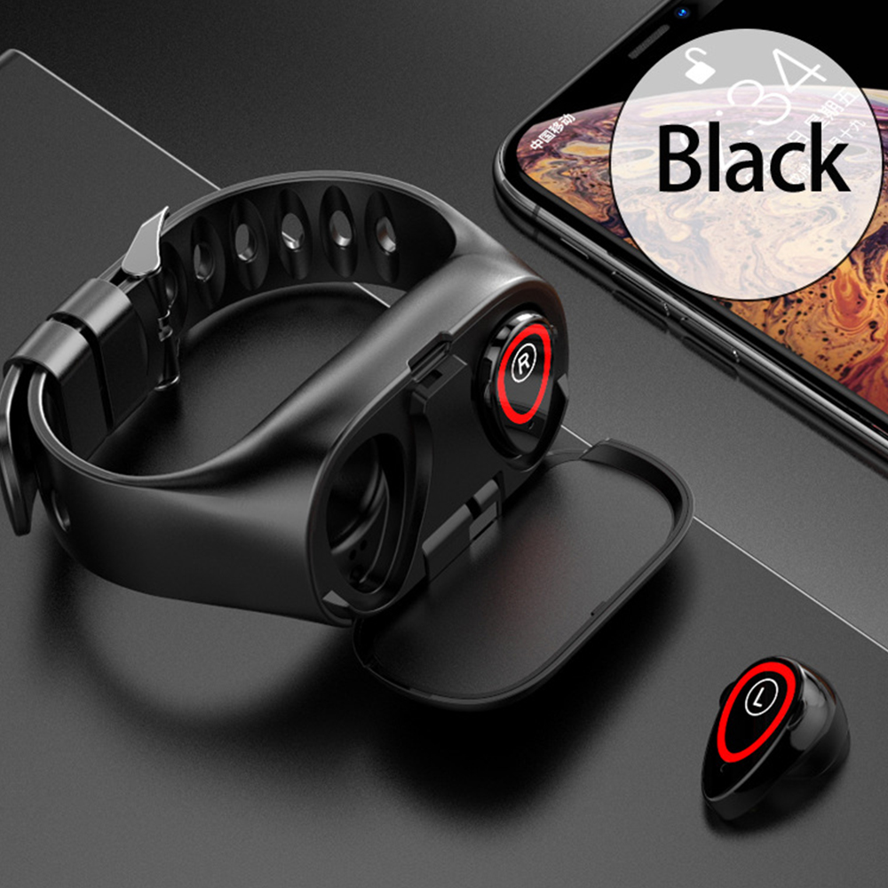 M1 Wireless Bluetooth Earphone With Heart Rate Monitor Stereo Earbud Headset Long Time Standby Sport Watch Wristband Men