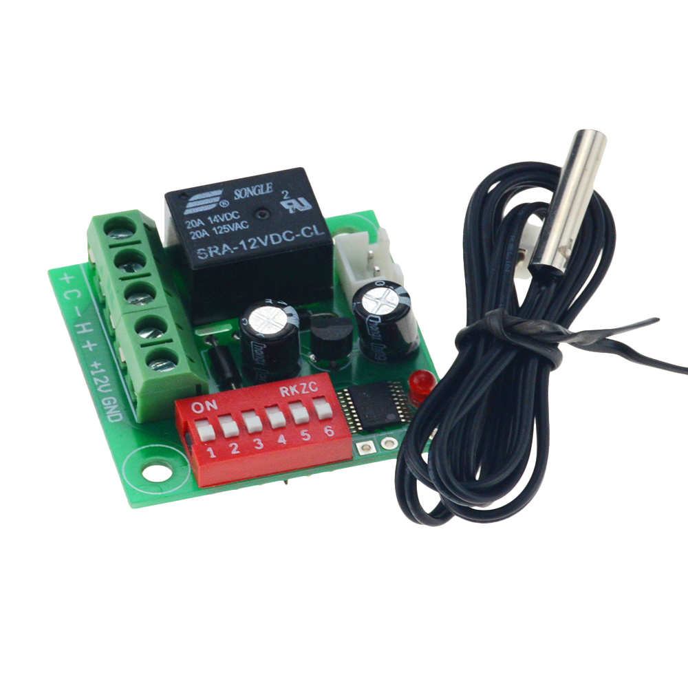 DC 12V Digital Cool Heat Temp Thermostat Thermometer Temperature Control On/Off Switch Temperature Control Switch 20-90C