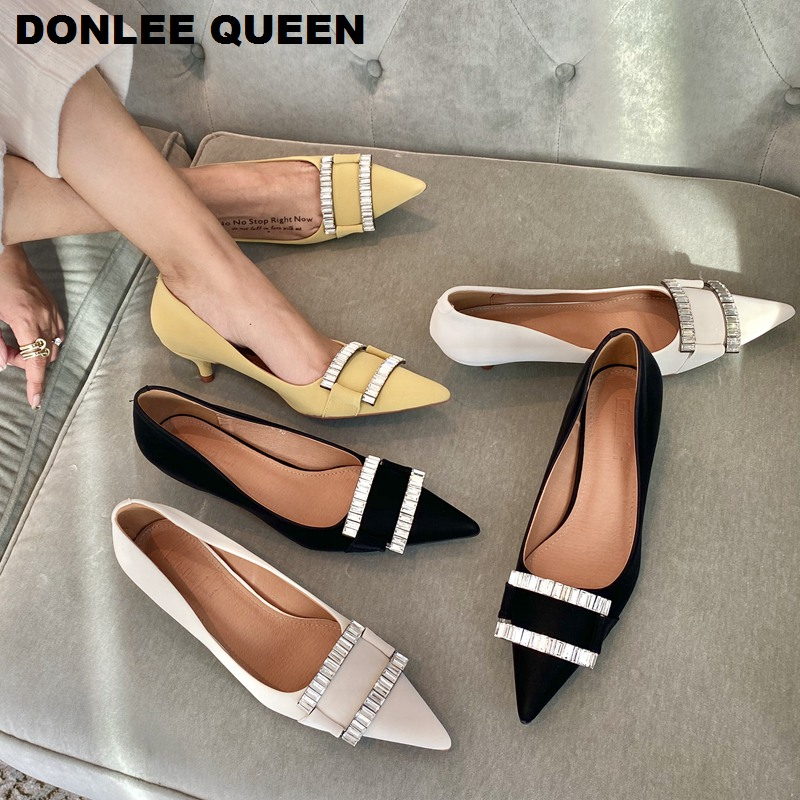 Brand Rhinestone Shoes Women Female Thin Med Heels Pointed Toe Pumps Work Party Wedding Shoes 2020 New Arrival  Zapatos De Mujer