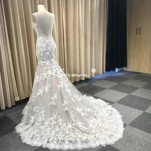 Image 4 - Leeymon Mermaid Ivory Kant Applicaties Wedding Dress V hals Kralen Sexy Backless Bruidsjurk Robe de Mariee
