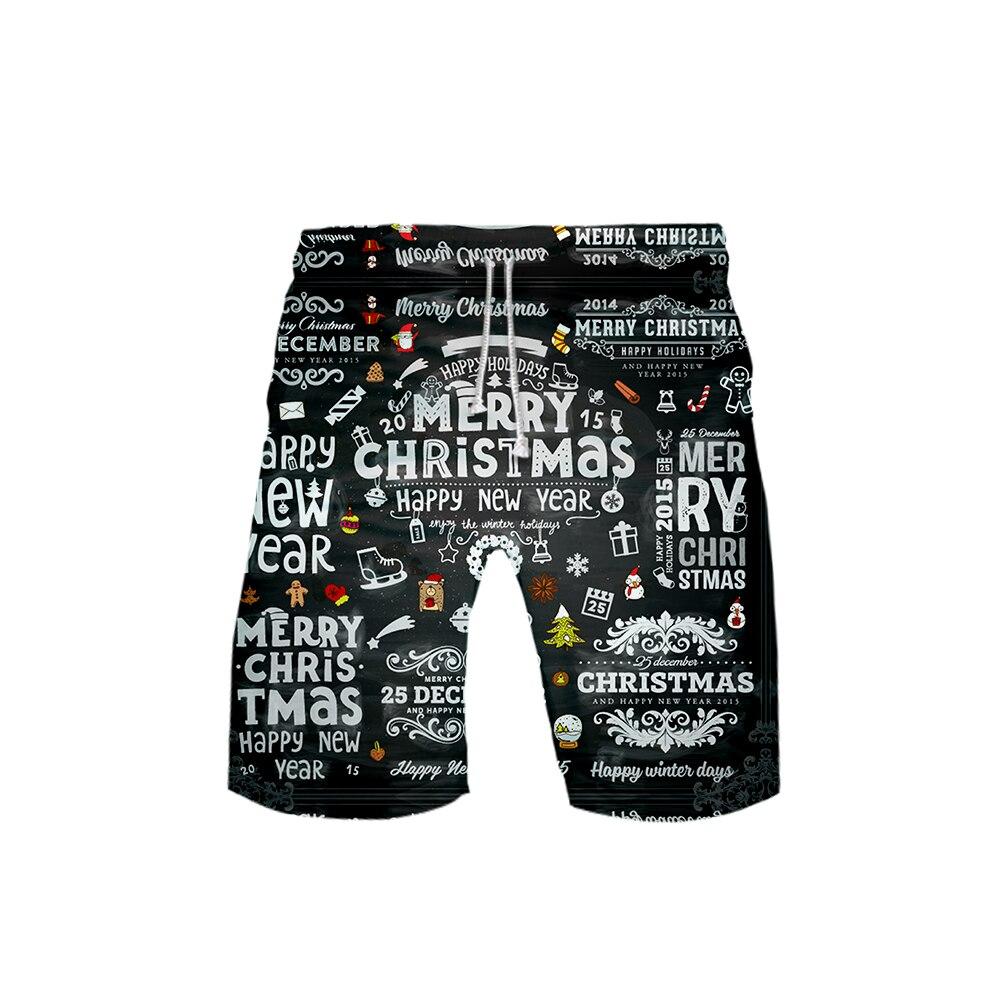 Men's 3D Christmas Shorts 3D Board Trunks 2019 Summer New Quick Dry Christmas Men Hip Hop Short Pants Beach Wear