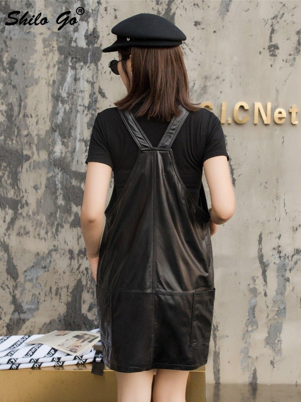 Genuine Leather Dress Black Solid Sleeveless Strap Dress Women Autumn Casual Plus Size Pocket Front Backless Sheepskin Dresses - 6
