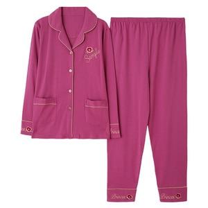 Image 5 - Azul escuro feminino outono & inverno 100% algodão pijama terno manga longa simples soild solto casa terno mais tamanho pijamas conjunto xl xxl xxxl