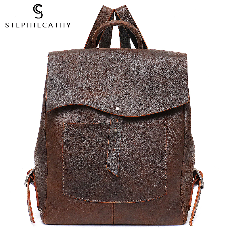 SC Women Italian Leather Backpack Vintage Retro Style Flap Buckle Large Shoulder Bags School Life Travel Holiday Knapsacks