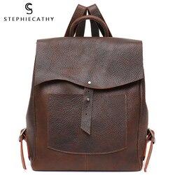 SC Women Italian Leather Backpack Vintage Retro Style Flap Buckle Large Shoulder Bags School Life Travel Holiday Knapsacks